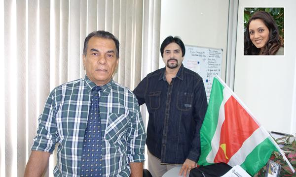 Onderdirecteur van Onderwijs van MINOWC, de heer Roy Narain samen met Amit Shaan, voorzitter van Shaan Creations International. Inzetfoto: Neha Roeckshana Shaan, Gedragsspecialist en pionier van het SENSE-project.